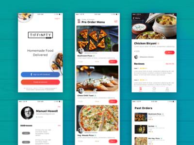 Tiffinity App  startup branding mobile food clean card ui app ios