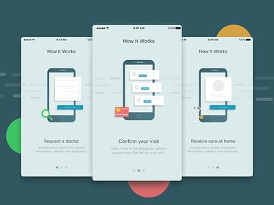 App Walkthrough Screens onboarding ux ui card illustration ios clean walkthrough app