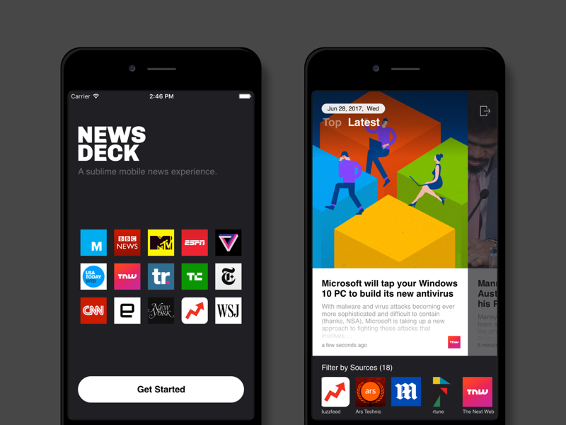 NewsDeck by Mokko cards feed reader design android ios news app ux ui