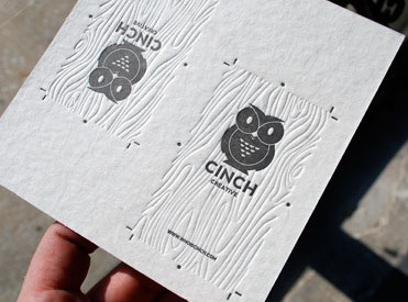 Cinch Creative Business Card business card cinch design logo icon owl graphic design letterpress