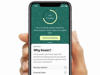 Rubicoin Learn Prototype code framer interaction design prototype fintech investing finance ios app ux design ux ui design ui interface