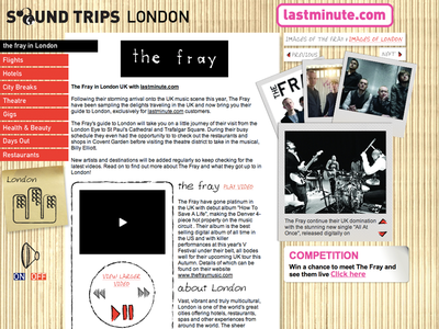 Throwback Band Website for The Fray chaos organised gigs travel lastminute fray band website throwback