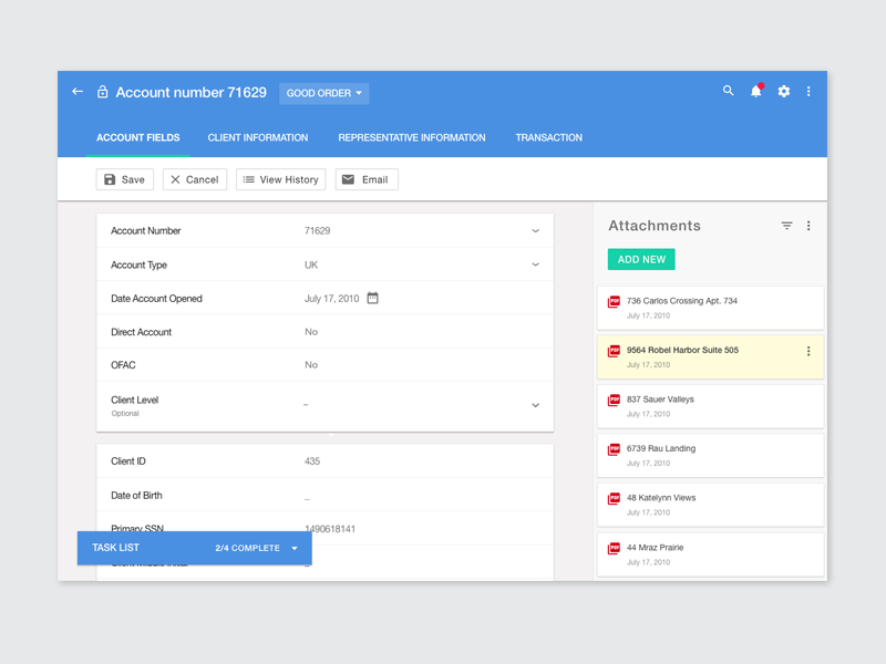Account management tool material console ux ui