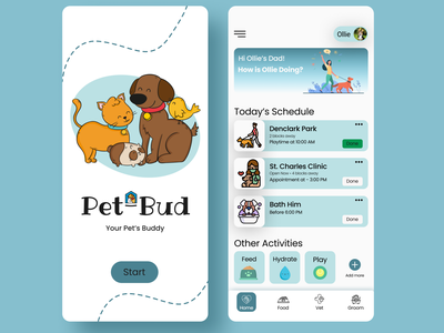 Pet Caring App ui  ux designer design logo illustration app typography minimal