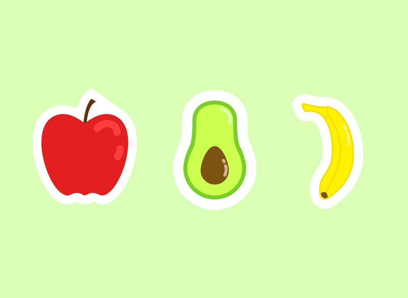 fruit stickers avocado banana apple stickers sticker fruit illustration illustrator