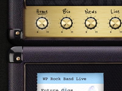 WP Amp Stack amp dials navigation website leather texture
