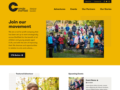 Create Sheffield yellow uiux mobile responsive web charity ux ui design website