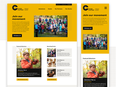 Create Sheffield yellow uiux mobile responsive web charity ux ui design website