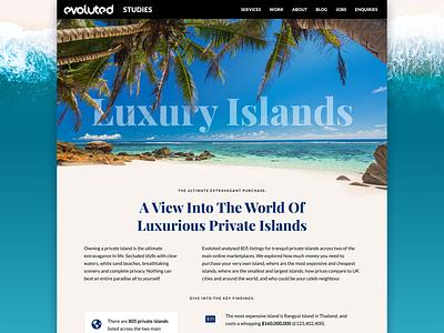 Luxury Islands Study casestudy study web design web ui beach sand sea private island island