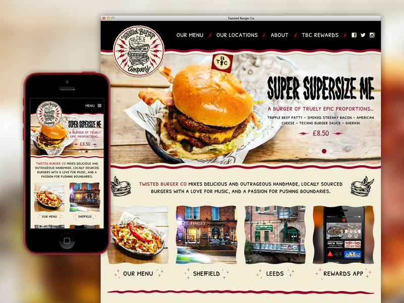 Burger joint site concept web site website design ui mobile twisted burger food restaurant responsive sheffield