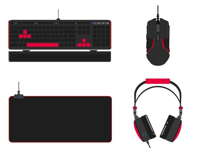 Gaming gear combo set technology objects gaming wallpaper background graphicdesign design illustration