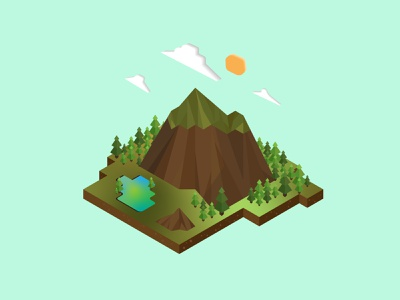 Mountain in the middle of the forest diorama isometric isometric illustration illustrator illustration graphicdesign design
