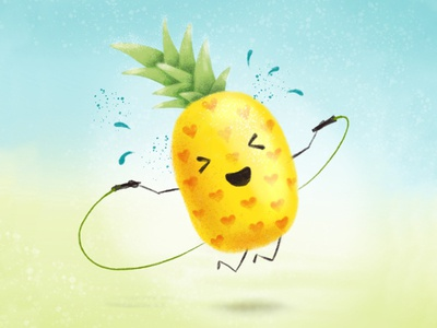 Skipping pineapple fitness sport cute happy procreate illustration pineapple jump skipping jump rope