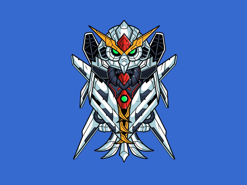 Owl Mecha animal owl mecha procreate design illustration streetwear cartoon