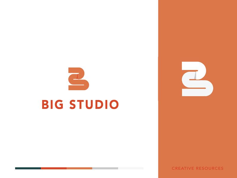 Big Studio monogram lettermark logo flat design letter icon minimal lettering lettermarks logo design branding