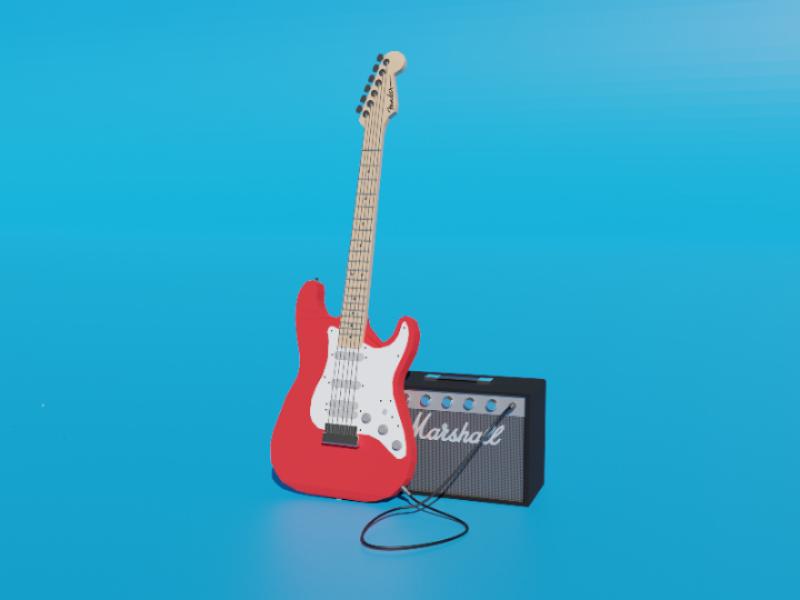 Fender & Marshall 3d blender3d blender