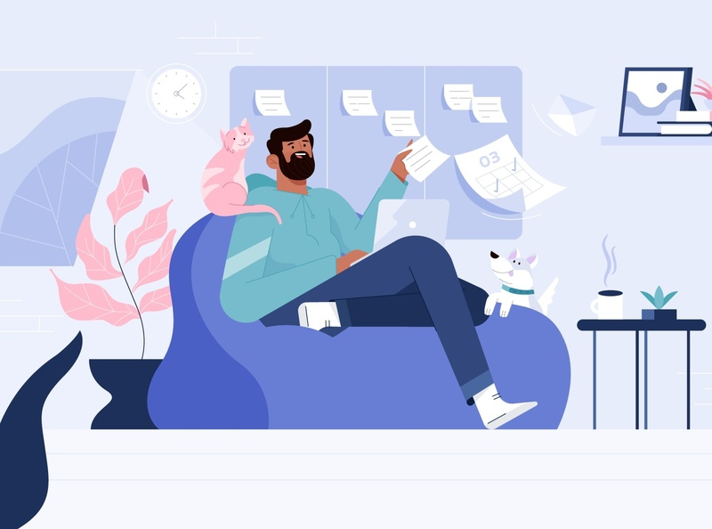 Remote Work geekbot dribbble illustrator characters design illustration character