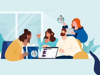 It's Geekbot's Fifth Birthday! gift plants team meeting startup characterdesign animation dribbble illustrator characters design illustration character
