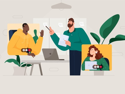 Remote work team! plants remotework illustrator characters design illustration character