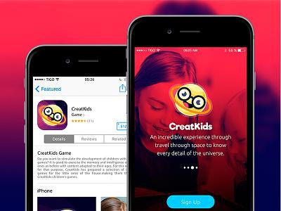 Preview App Creatkids movil ui planets app