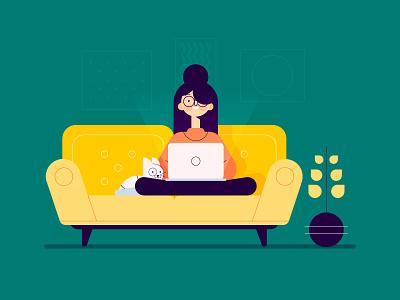 Girl sofa plant illustration holder glasses girl frame for character cat