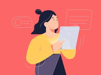 Woman working apple woman ipad 2 ipad illustrator design characters illustration character