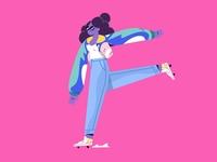 Letter F - Girl riding roller skates.