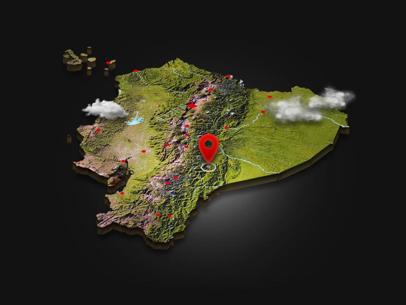Ecuador relief clouds 3d photoshop map ecuador