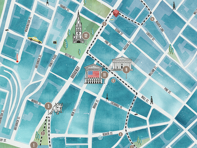 Urban Walks App tour city guide map interactive app illustration design