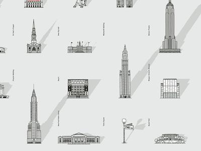 Urban Walks Illustrations new york sights illustration buildings street urban walks app city guide