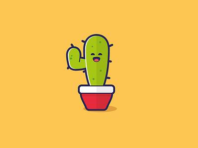 Happy Cactus cactus plant flat illustration vector
