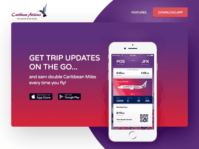 Caribbean Airlines App Landing Page mobile app landing page ticket airline ios mobile app