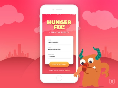 Hunger Fix Signup signup mobile app ui iphone ios 001 dailyui