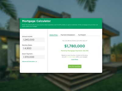 Mortage Calculator mortgage calculator finance bank mobile website web ui calculator dailyui 004