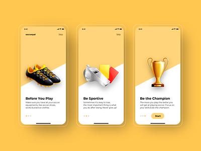 Soccerpal: Learn Soccer Skills (Onboarding UI Design) weeklyui userinterfacedesign uiux ui uiinspiration mobileui mobile designchallenge design