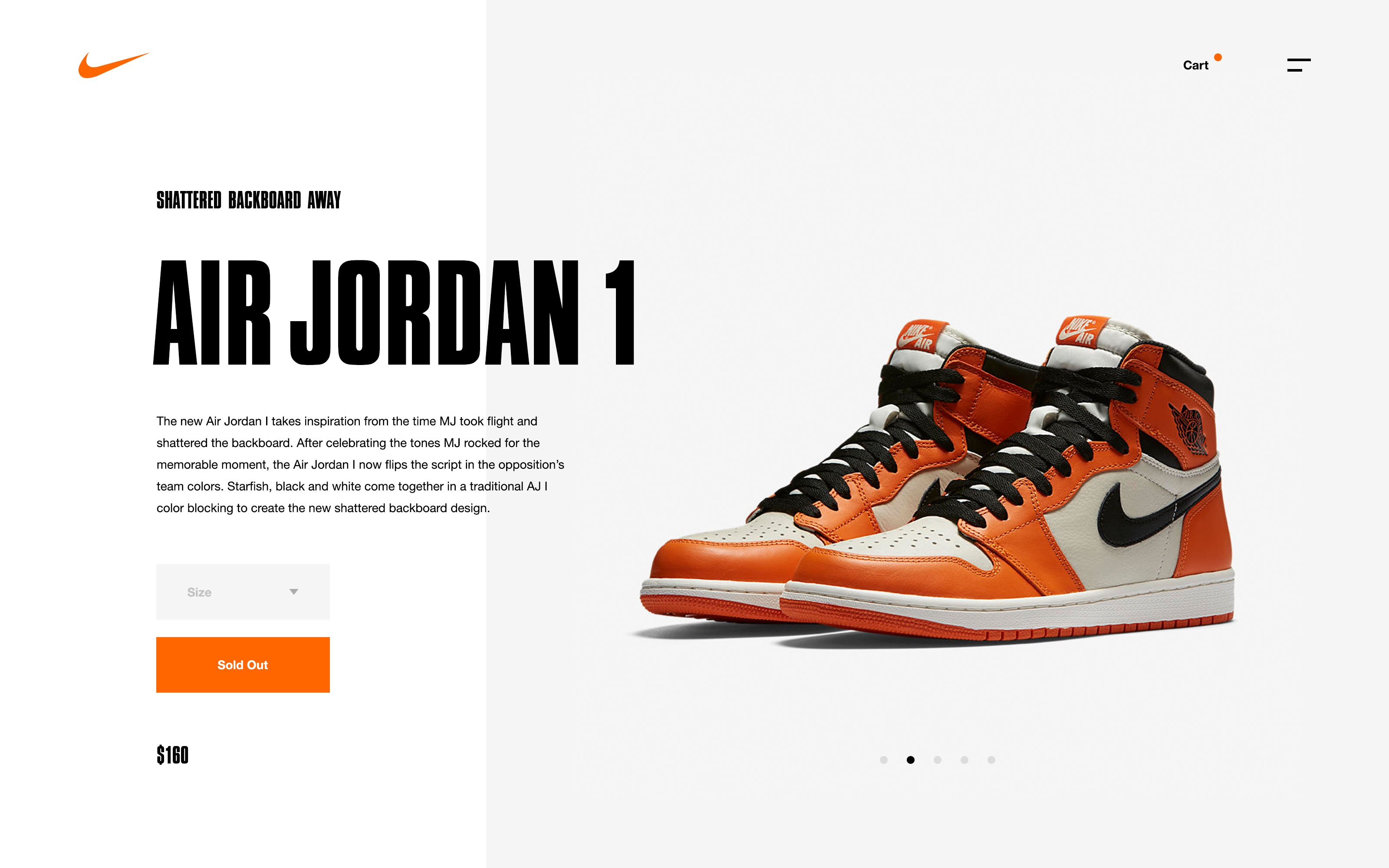 Nike SNKRS Desktop Product Screen by