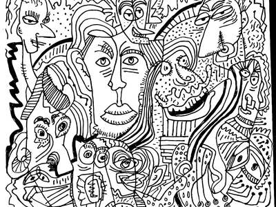 Doodle July 2019 Face in the crowd illustration drawing doodle sketch