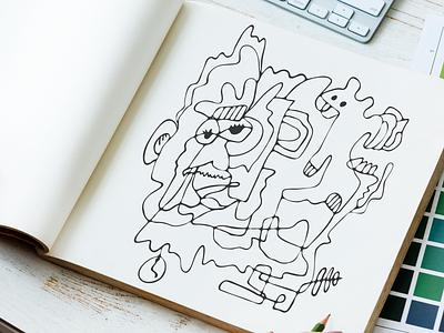 Squirrel & man doodle artwork drawing illustration illustrator sketchbook art