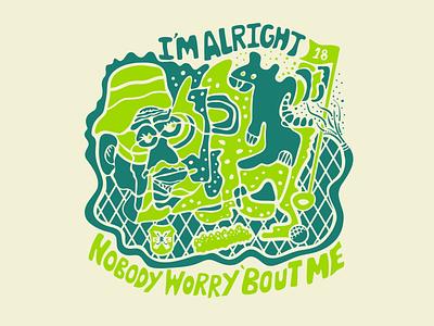 I'm alright nobody worry 'bout me - Caddyshack doodle t-shirt design caddyshack golf drawing illustration illustrator