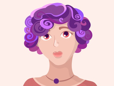 Purple girl illustration vector art