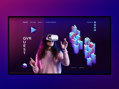 Landing page for virtual reality club. First screen. firstscreen virtualglasses virtualreality webdesign