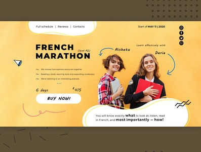 Online French Marathon. Single-page website. education marathon french firstscreen webdesign