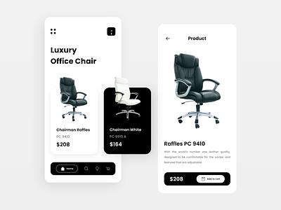 Geunaheun - Work Chair Sales Mobile App ui design chair design monochrome mobile app monochrome simple minimalist mobile ui mobile app chair