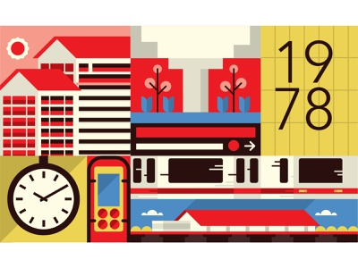 Tracing our Tracks - N°3 vector trains singapore mrt illustration flat design
