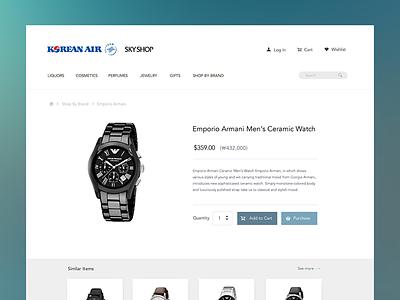 Korean Air Skyshop web design user interface simple ecommerce web ui