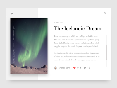 The Icelandic Dream Article Card iceland post blog card article clean minimal ui