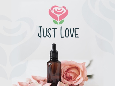 Just Love logo leafs simplicity joy purity admiration beauty kindness nature love reliable soft alternative medicine trust pink rose hearth illustration logo design