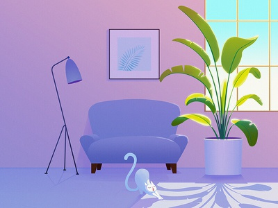 Sofa and flowers 9 cat armchair light flower drawing illustration