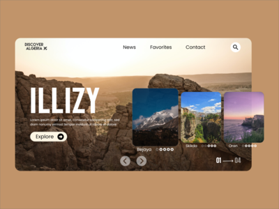 "Discover Algeria : Travel website concept ""ILLIZY"" travel website algeria travel webdesigner website design website webdesign uidesign uiux ui ux ui clean design clean"