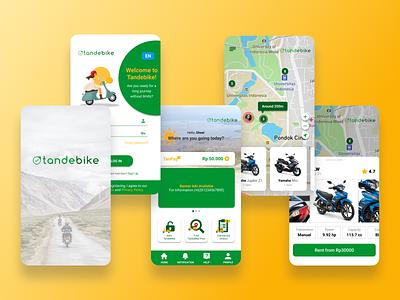 Tandebike: Motorcyle Rent App design art illustrator illustration flat ux logo branding app ui